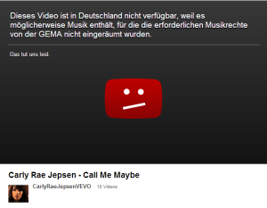 Carly Jepsoen - Call me maybe - YouTube-Sperre