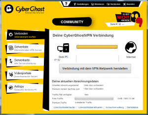 CyberGhost - ohne Proxy-Verbindung